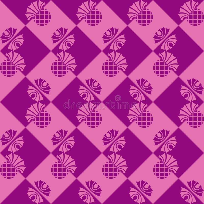 Sömlös rutig bakgrund med blommatisteln royaltyfri illustrationer