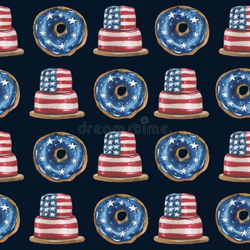 Sömlös rytmisk modell för vattenfärg av glasade donuts och kakor i färgerna av den USA stjärna-gjorde randig flaggan arkivbilder