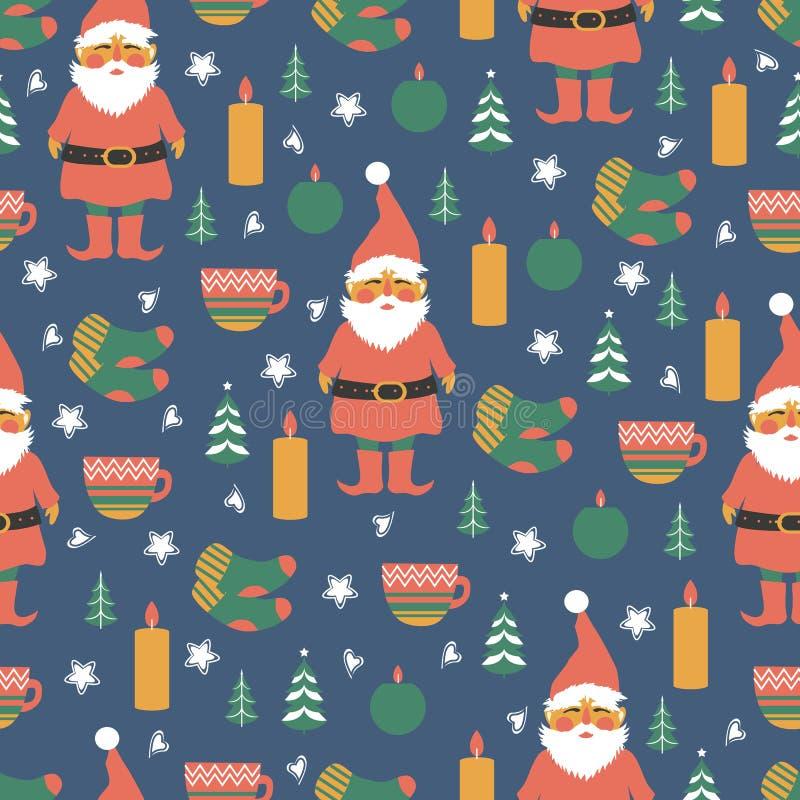 Sömlös scandinavian vektormodell, nordisk färgrik bakgrund, dekorativa danska symboler julgran, stearinljus stock illustrationer
