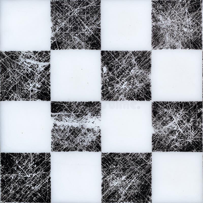 Sömlös schackbräde överst Svartvit textur med skrapor arkivbilder