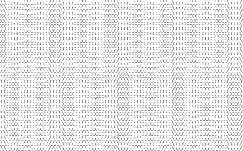 Sömlös sexhörningsmodell för vektor, svartvit bakgrund för honungskakor vektor illustrationer