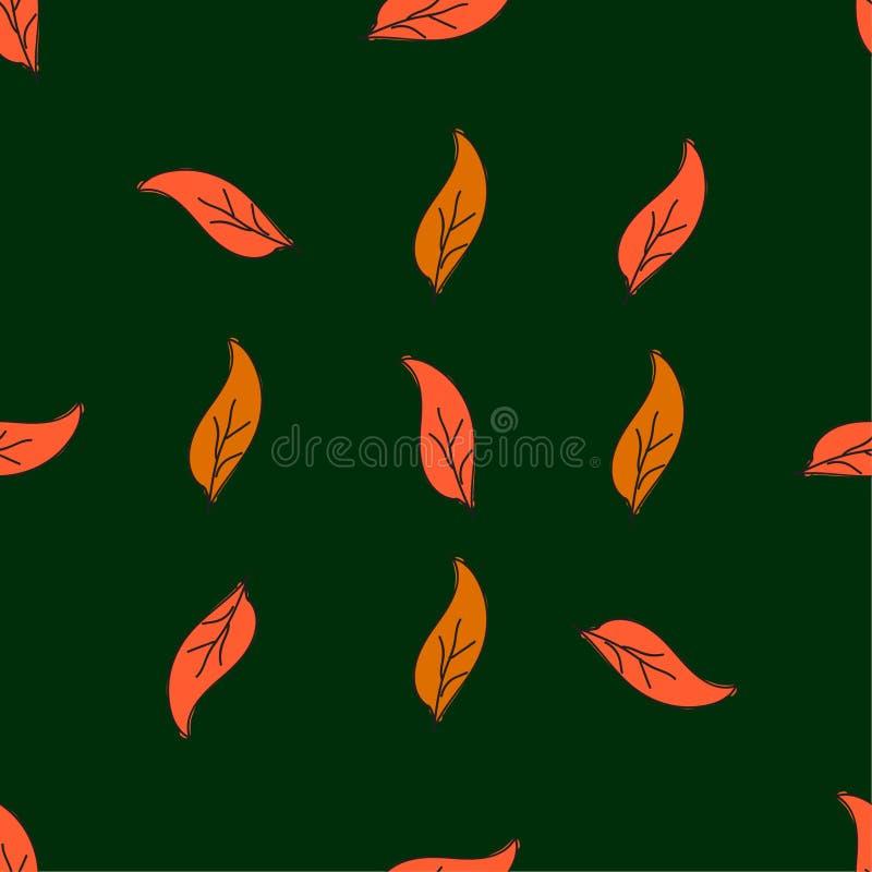 Sömlös sidamodell för tappning Utdragna höstsidor för hand på gräsplan abstrakt bakgrundsvektor enkel stil vektor illustrationer
