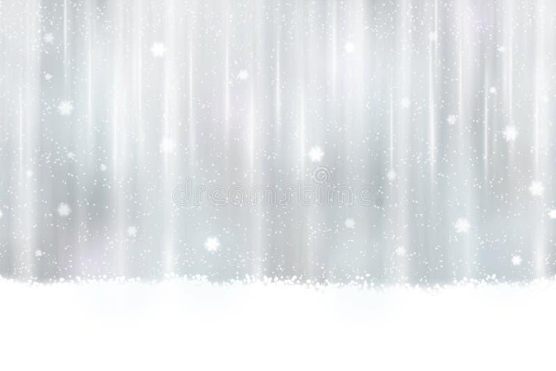 Sömlös silverbakgrund med snöflingor royaltyfri illustrationer