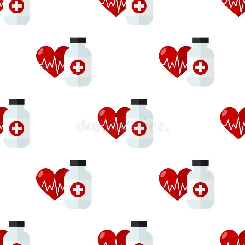 Sömlös sjukvård för preventivpillerflaska och hjärta stock illustrationer