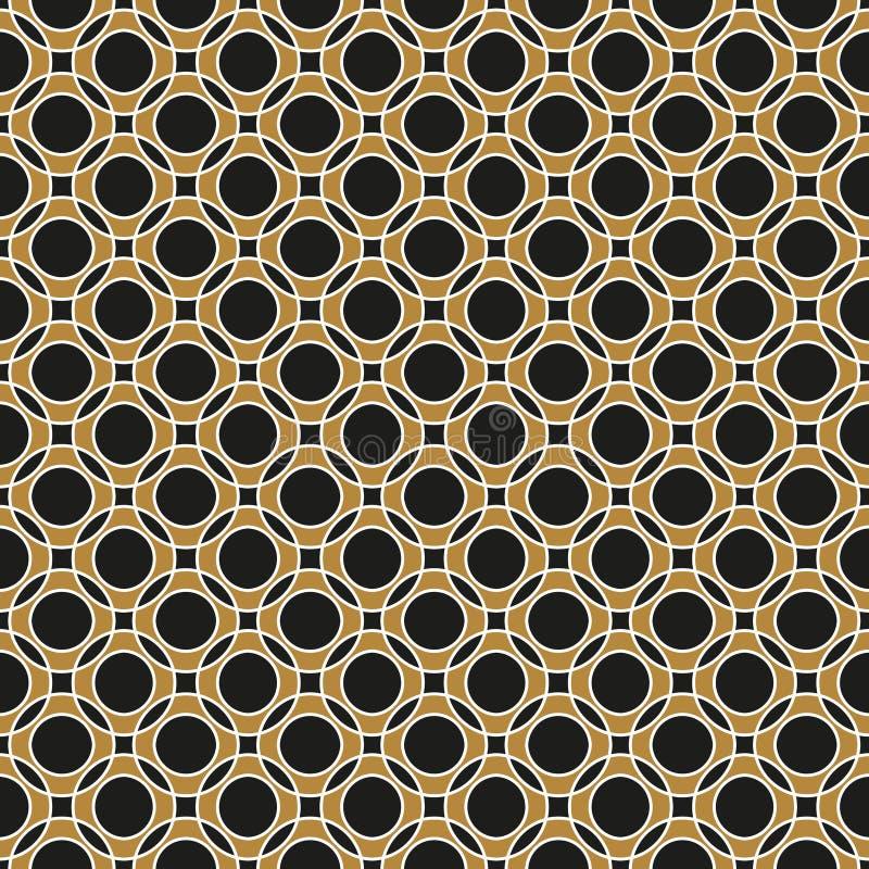Sömlös skärande guld- cirkelmodell för geometrisk tappning royaltyfri illustrationer