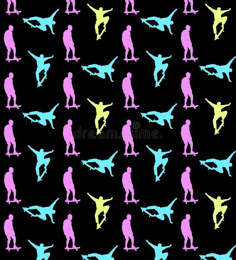 Sömlös skateboarding modell med mång--färgade konturer av skateboarders på svart bakgrund stock illustrationer