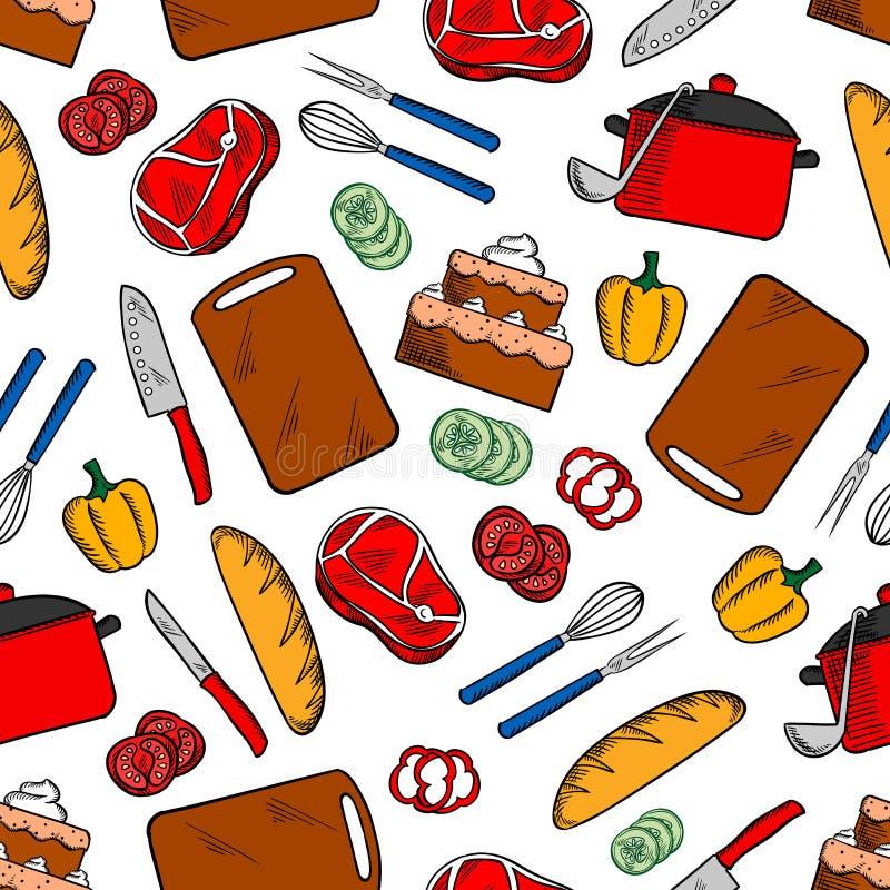 Sömlös skissad modell för matlagning matställe stock illustrationer