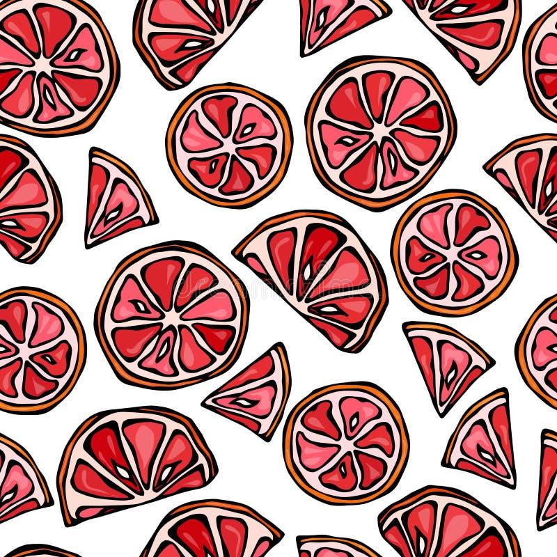 Sömlös skivabakgrund för grapefrukt Modell av citruns Illustration för klotterstilvektor stock illustrationer