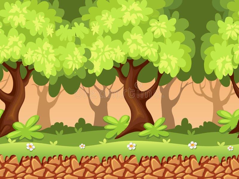 Sömlös skogbakgrund stock illustrationer