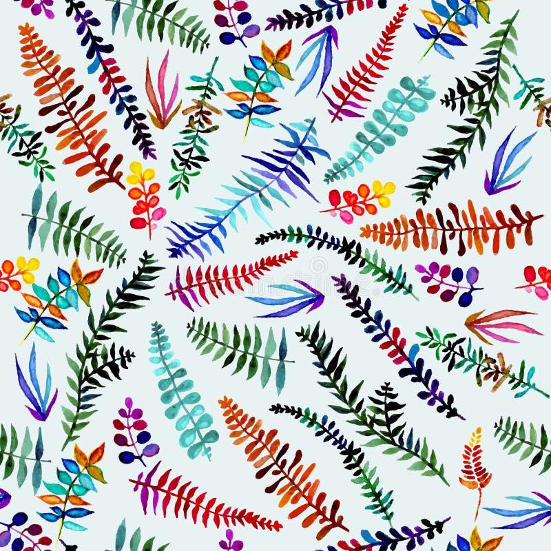 Sömlös skogmodell med färgrika sidor Bruish bakgrund för nedgång Vektortapet stock illustrationer