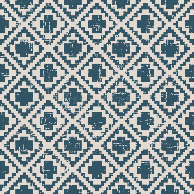 Sömlös sliten ut antik diamantkontroll för bakgrund 321_pixel stock illustrationer