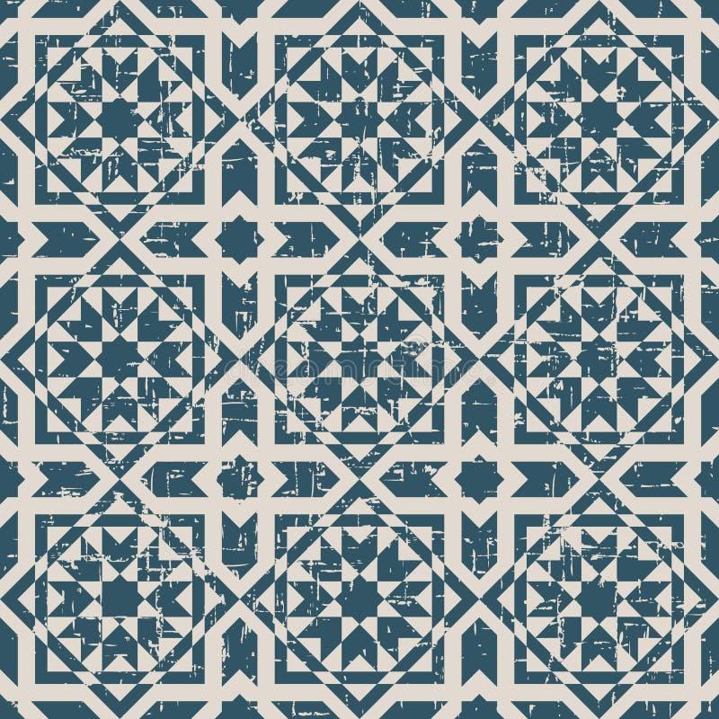 Sömlös sliten ut antik för fyrkantislam för bakgrund 226_cross stjärna vektor illustrationer