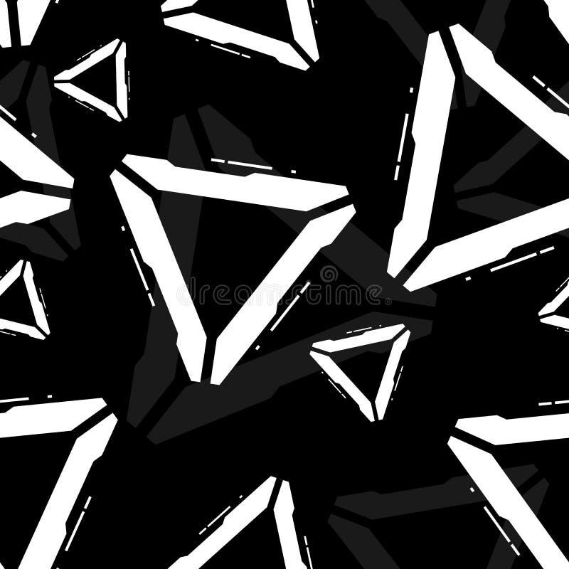 Sömlös slumpmässig modell för futuristisk vektor stock illustrationer