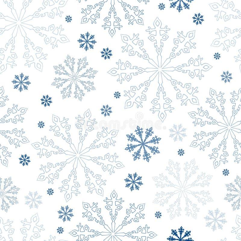 Sömlös snöflingabakgrund för jul arkivfoto