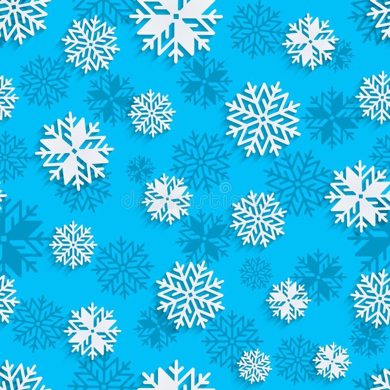 Sömlös snöflingabakgrund för vinter, jultema och feriekort vektor illustrationer
