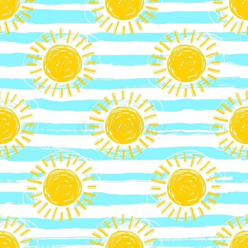 Sömlös solmodell, randig bakgrund Hand drog gula solskensymboler vektor illustrationer