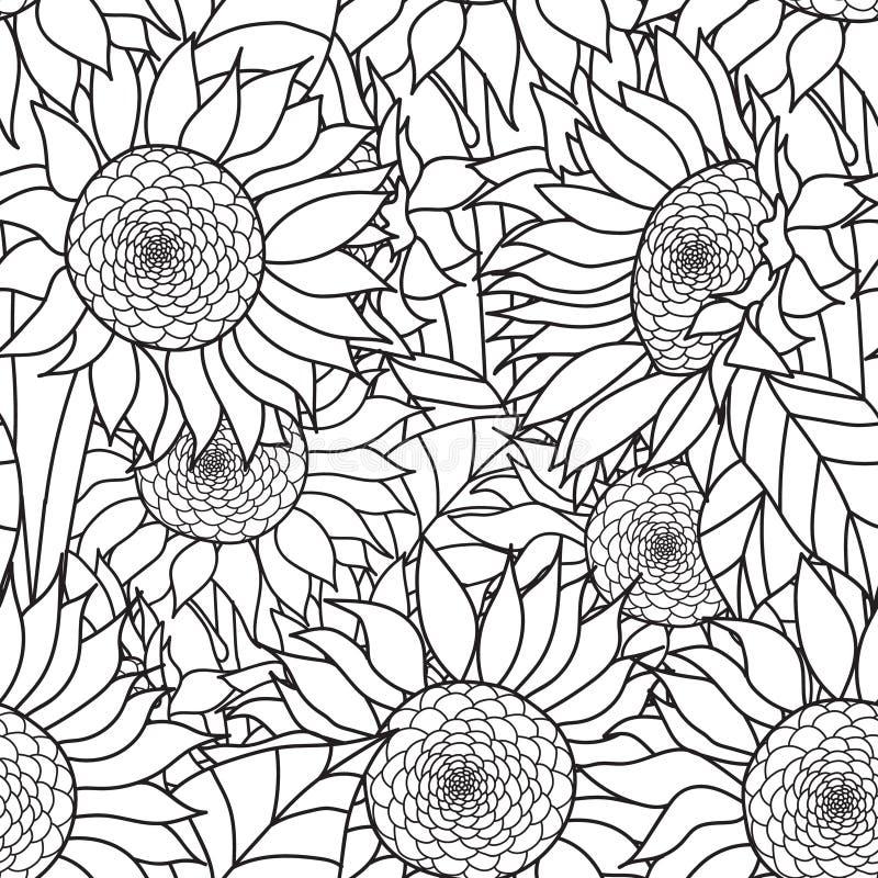 Sömlös solrosbukett vektor royaltyfri illustrationer