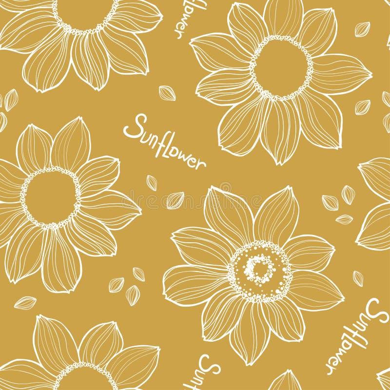 Sömlös solrostextur Vit dragen vektorhand royaltyfri illustrationer