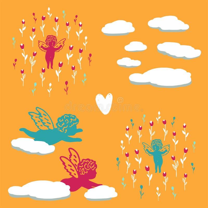 Sömlös sommarbakgrund med änglar i blommor vektor illustrationer
