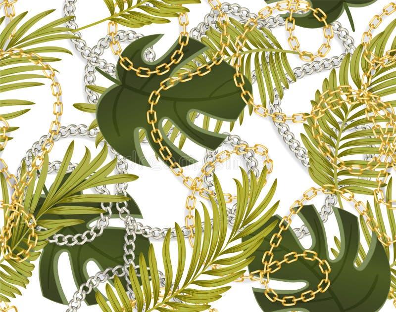 Sömlös sommarmodell med guld- och silverkedjor, tropiska sidor Moderiktigt modetryck stock illustrationer