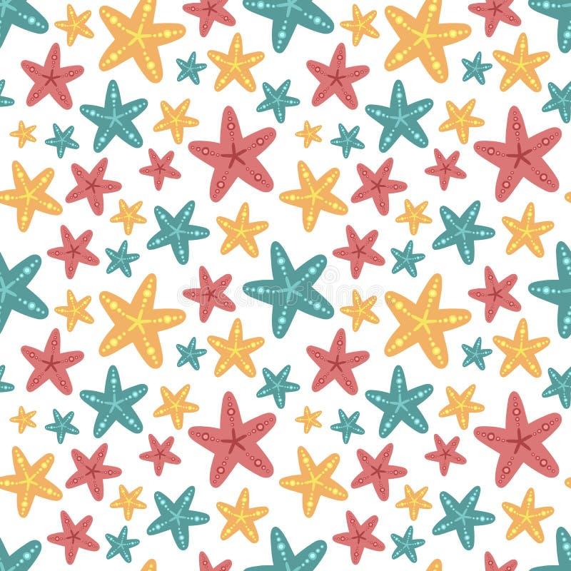 Sömlös sommarmodell med rosa, blåa och orange sjöstjärnor Vektorhavsillustration för ferie, bakgrund, textil, tyg, royaltyfri illustrationer