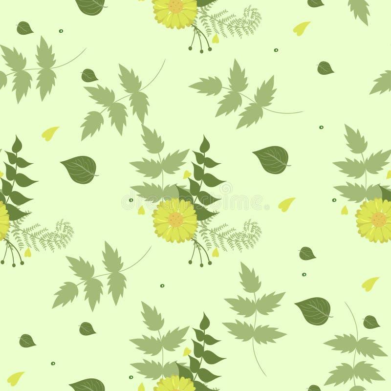 Sömlös sommarmodellgräsplan med gula blommor ocks? vektor f?r coreldrawillustration royaltyfri illustrationer
