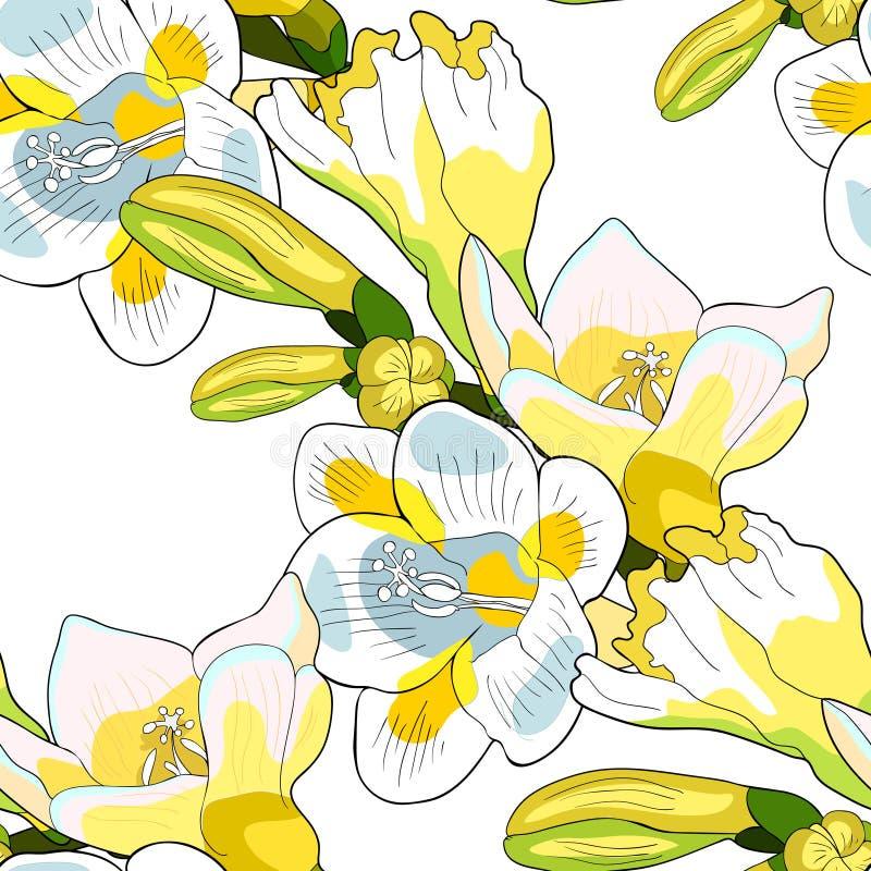 Sömlös sort för modellblommafreesia av irisvektorillustratioen stock illustrationer