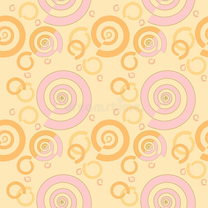 Sömlös spiral apelsin för modellrosa färgguling på persikafärg vektor illustrationer