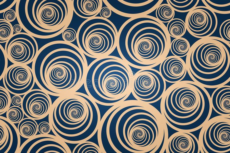 Sömlös spiral guld- modell med mörker - blå bakgrund arkivbild