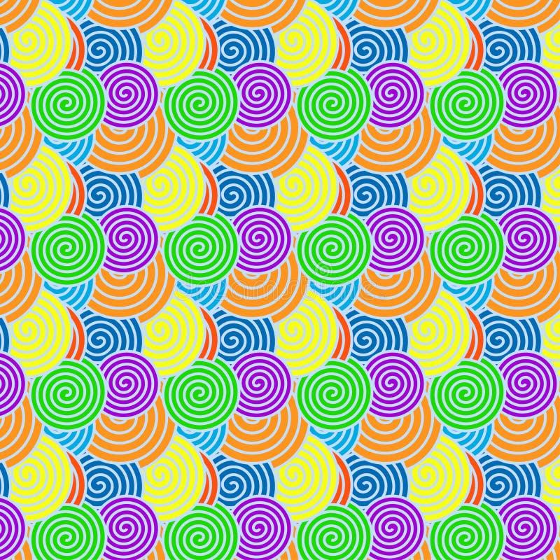 Sömlös spiral modell med regnbågefärger för abstrakt bakgrund vektor illustrationer