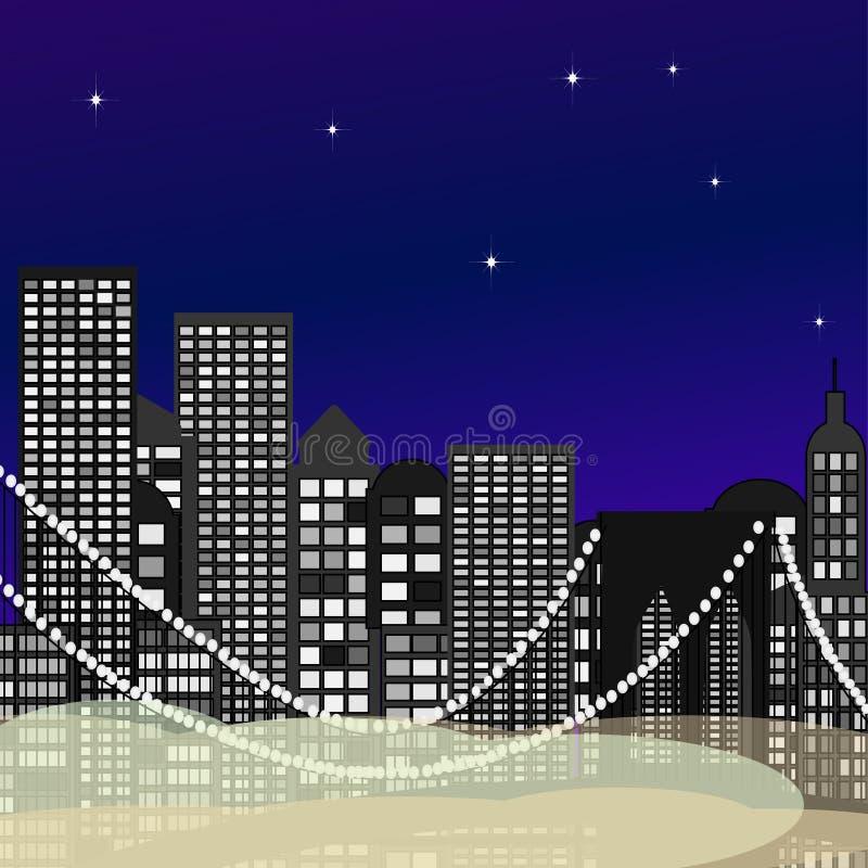 Sömlös stadshorisontantenn på solnedgången med skyskrapor vektor royaltyfri illustrationer