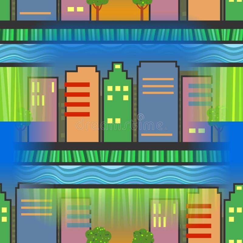 Sömlös stadsskyskrapaplats stock illustrationer