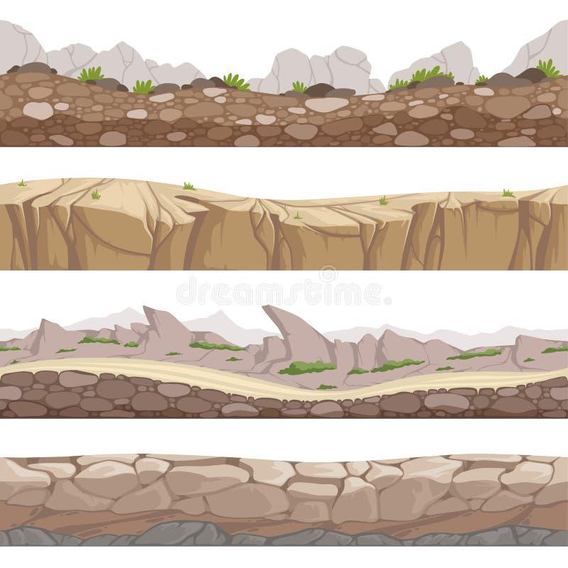 Sömlös stenväg Steniga modiga bakgrunder med olika typer av samlingen för stenvektortecknad film stock illustrationer