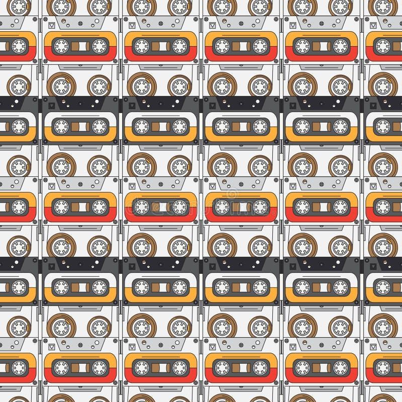 Sömlös stil för bakgrundsmodellhipster med audiocassetten musik ljud retro Magnetiskt band Analoga multimedia vektor illustrationer