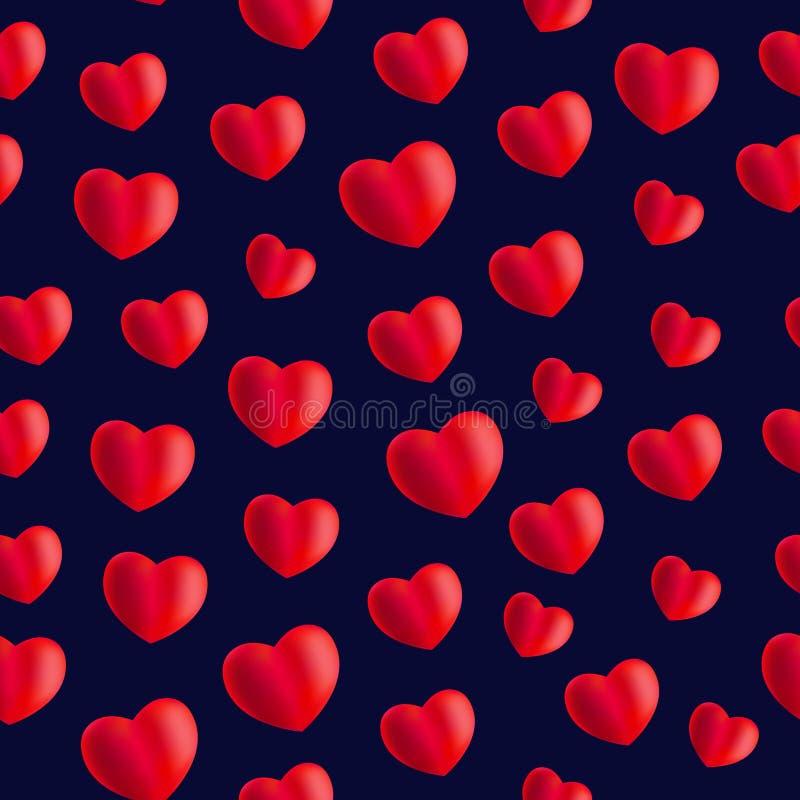 Sömlös stilfull röd modell med hjärtor vektor royaltyfri illustrationer