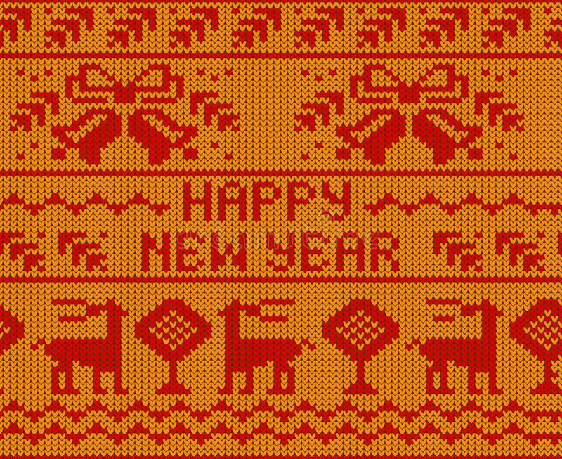 Sömlös stucken modell för gult förkläde för lyckligt nytt år med deers stock illustrationer