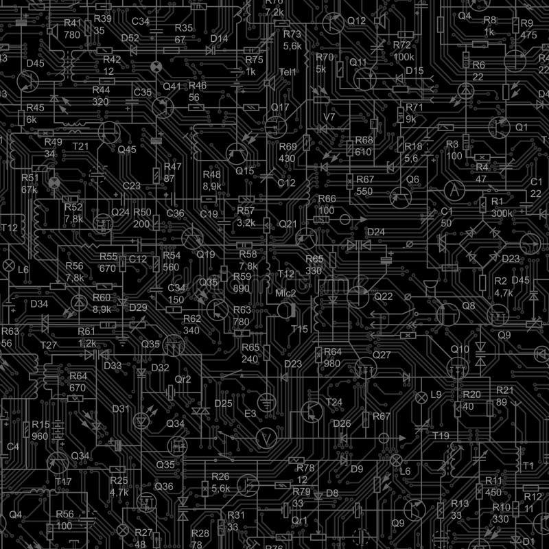 Sömlös svart bakgrund av den elektriska strömkretsen vektor illustrationer