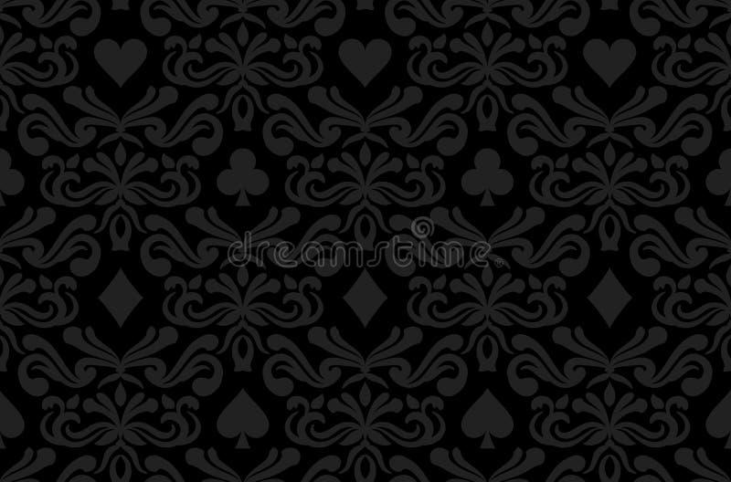 Sömlös svart bakgrund med pokersymbolsurro vektor illustrationer