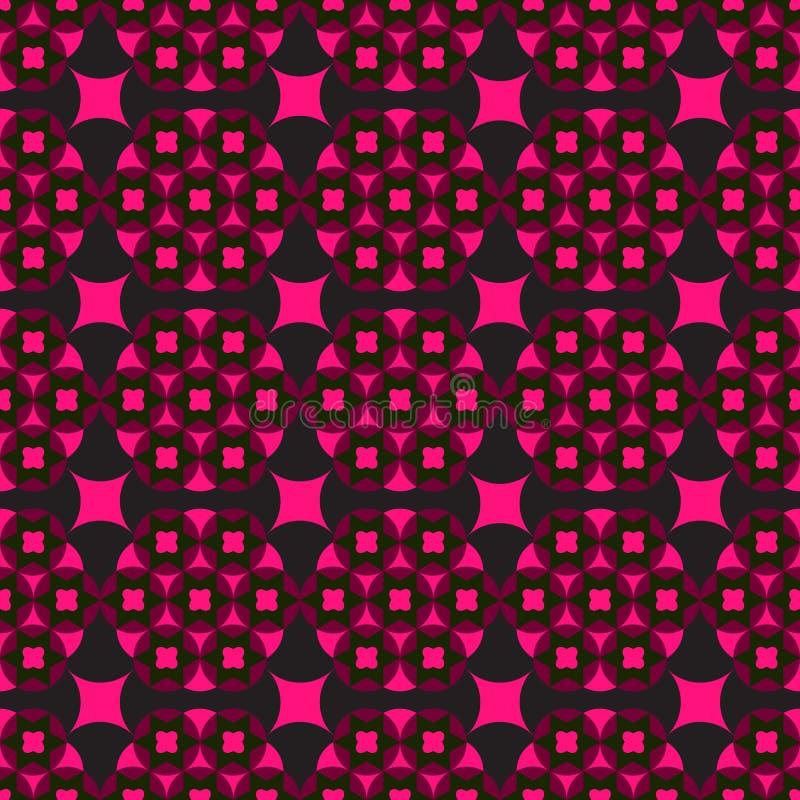 Sömlös svart bakgrund med röda geometriska former royaltyfri illustrationer