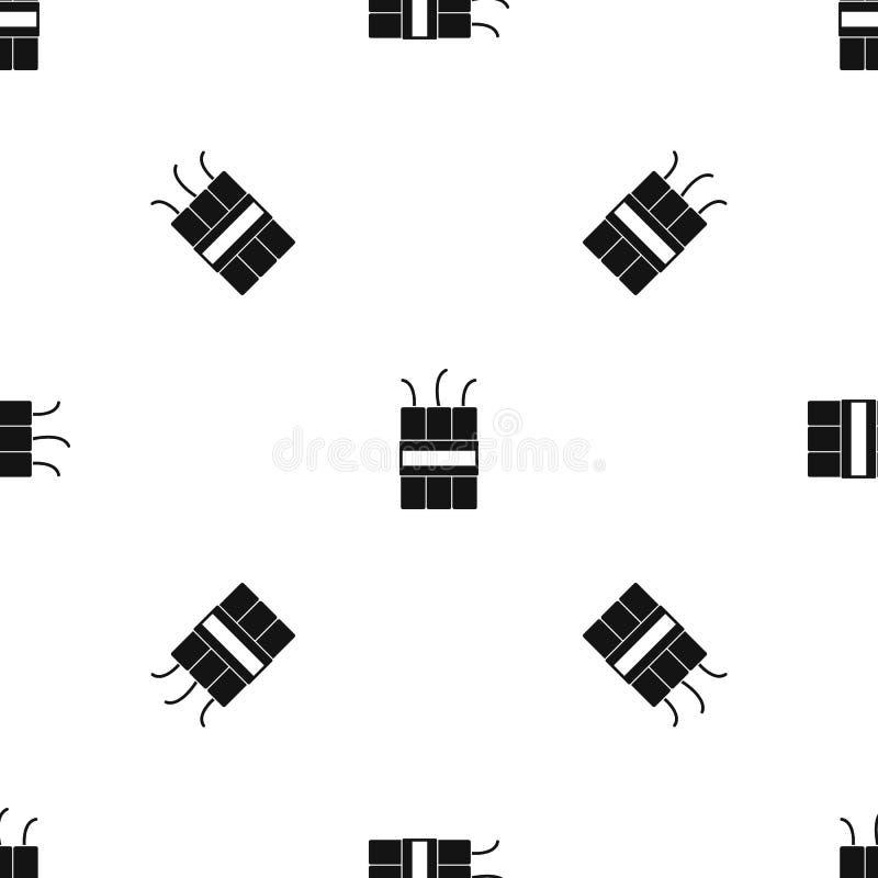 Sömlös svart för dynamitsprängmedelmodell vektor illustrationer