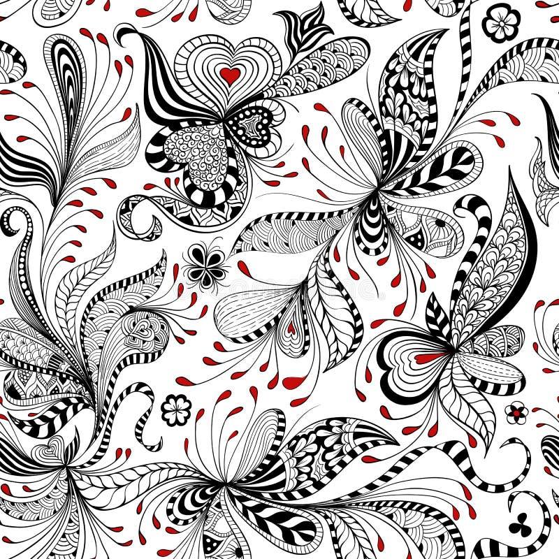 Sömlös svart för vektor och röd blom- modell royaltyfri illustrationer