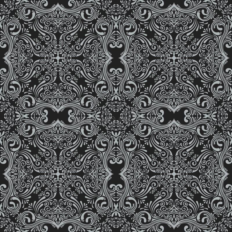 Sömlös svart modell för vektor med konstprydnaden Tappningbeståndsdelar för design i viktoriansk stil royaltyfri illustrationer