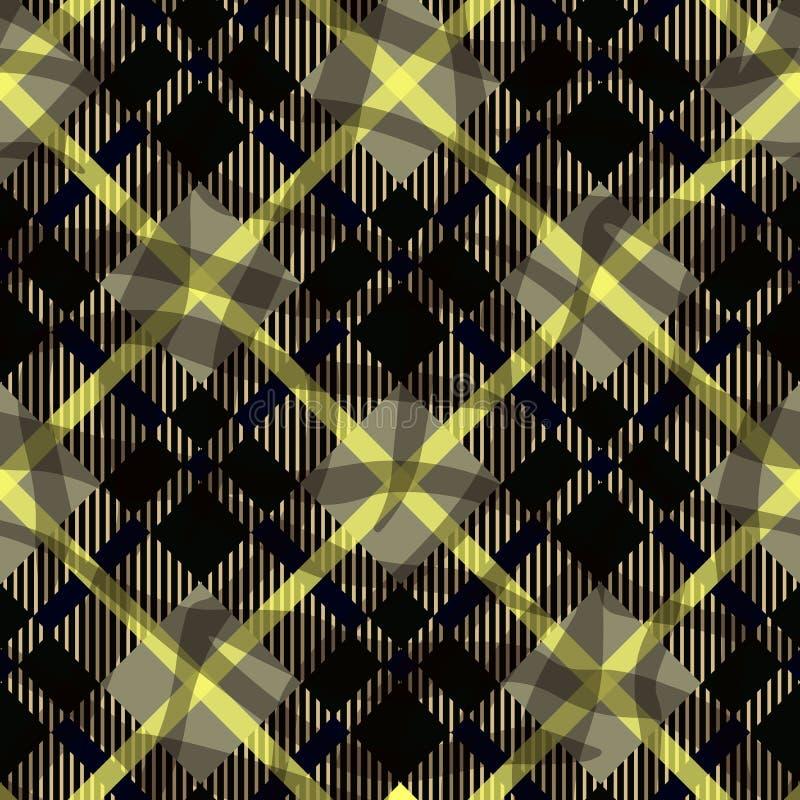 Sömlös svart och den gula diagonala detaljerade textilen för plädtartangingham mönstrar vektorn eps 10 vektor illustrationer