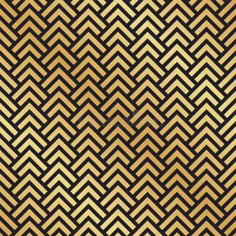Sömlös svart och guld- Art Deco fiskbensmönstermodell Abstrakt geometrisk vektormodellbakgrund vektor illustrationer