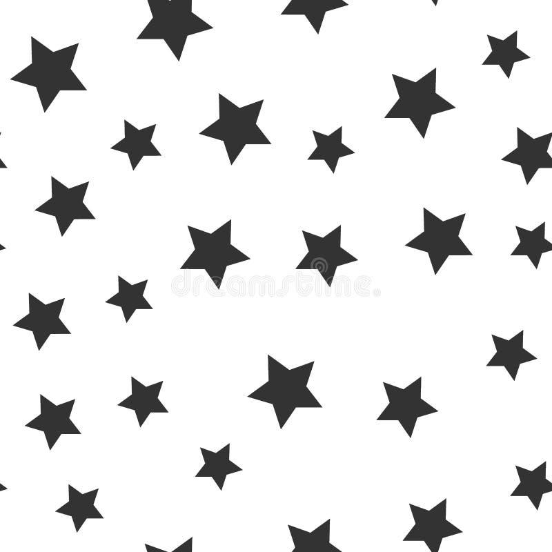 Sömlös svart stjärnamodell för vektor stock illustrationer