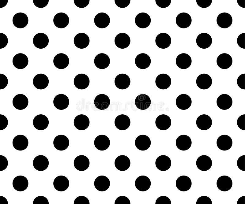 Sömlös svart vit prickmodell arkivbilder