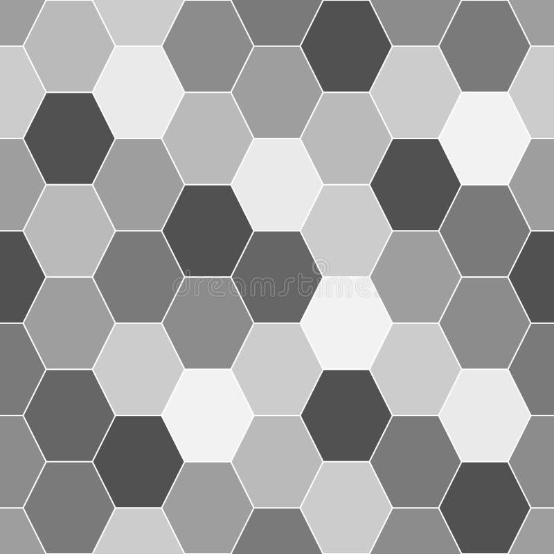 Sömlös svartvit bakgrund från sexhörniga beståndsdelar vektor illustrationer