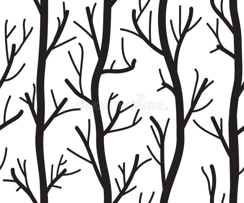 Sömlös svartvit bakgrund med träd vektor illustrationer