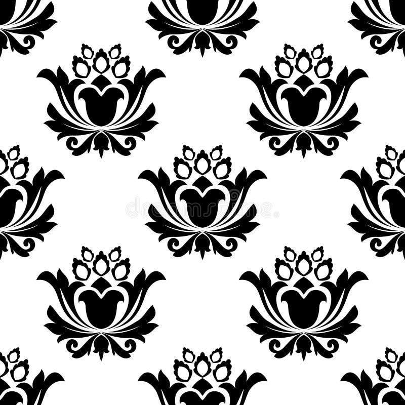 Sömlös svartvit blom- modell stock illustrationer