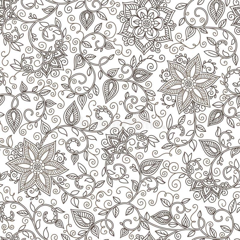 Sömlös svartvit blom- modell för vektor vektor illustrationer